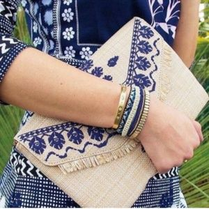 Stella & Dot Vista Wrap Blue Gold Beaded Bracelet